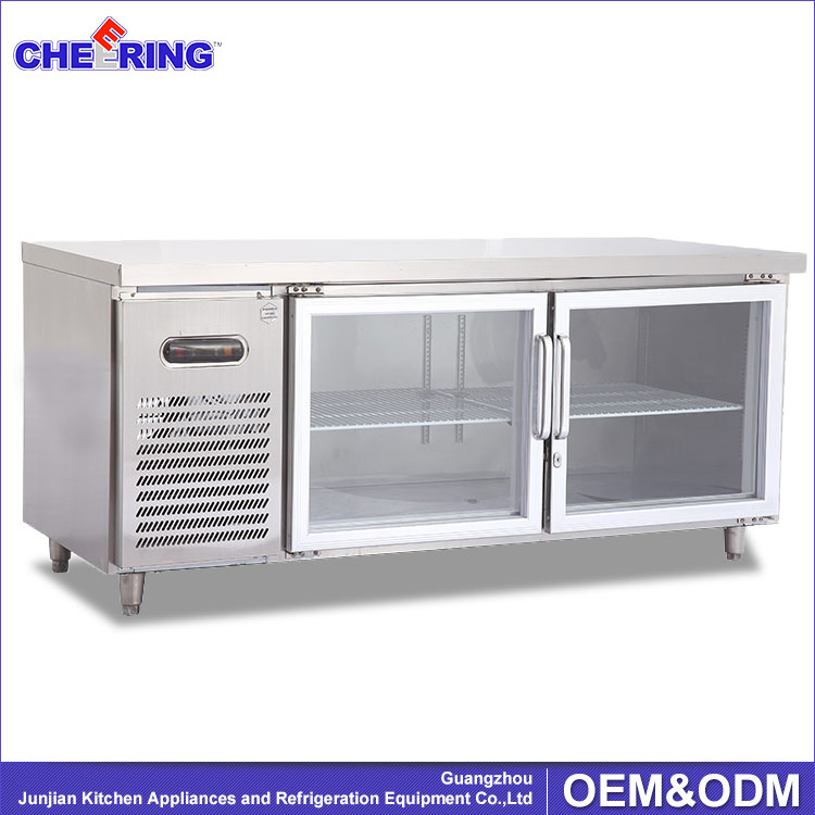 Beau Kitchen Equipment Glass Door Counter Topping Bar Workbench Refrigerator
