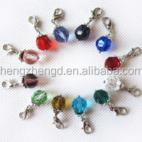 Hot sale fashion birthstone dangle charms with lobster clasp crystal bead pendant