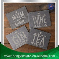 Wholesale Handmade 12*9*0.5cm Rectangle Black Promotion With Customized Laser Design Slate Tea Coaster Tea & Coffee Requirements
