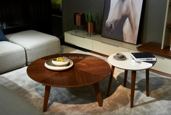 Wooden Coffee Table Round Shape