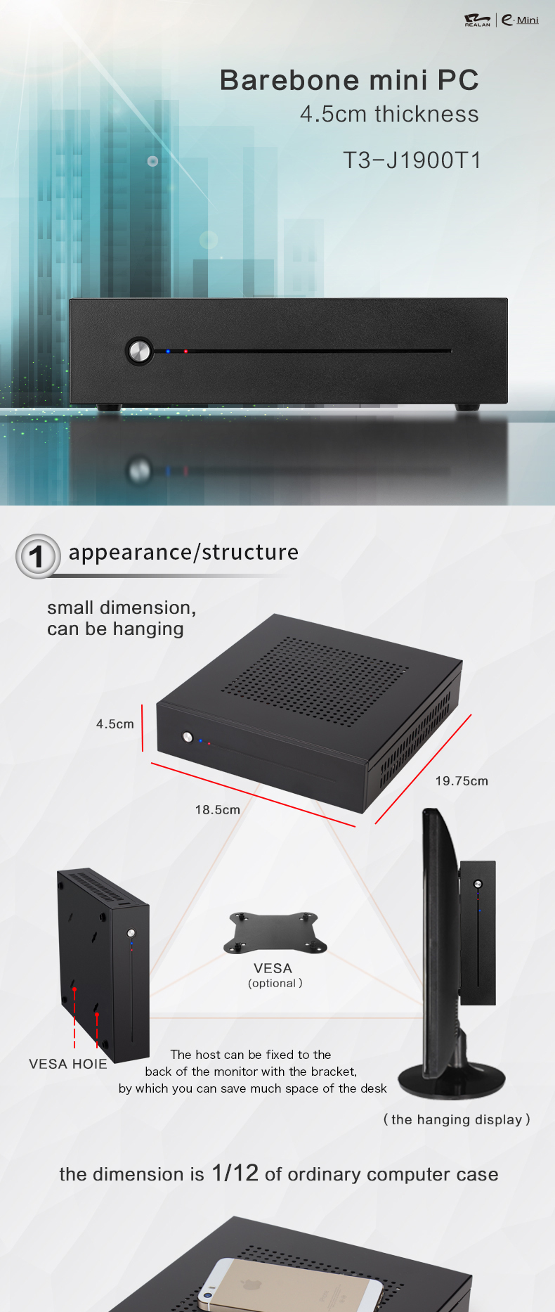 Fanless Abuntu mini industrial pc x86 with mini pc with vga wifi and hdmi
