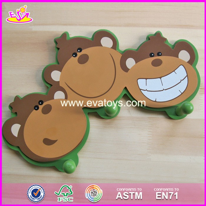 2017 New design children cartoon wooden coat hooks wall mounted W09B073