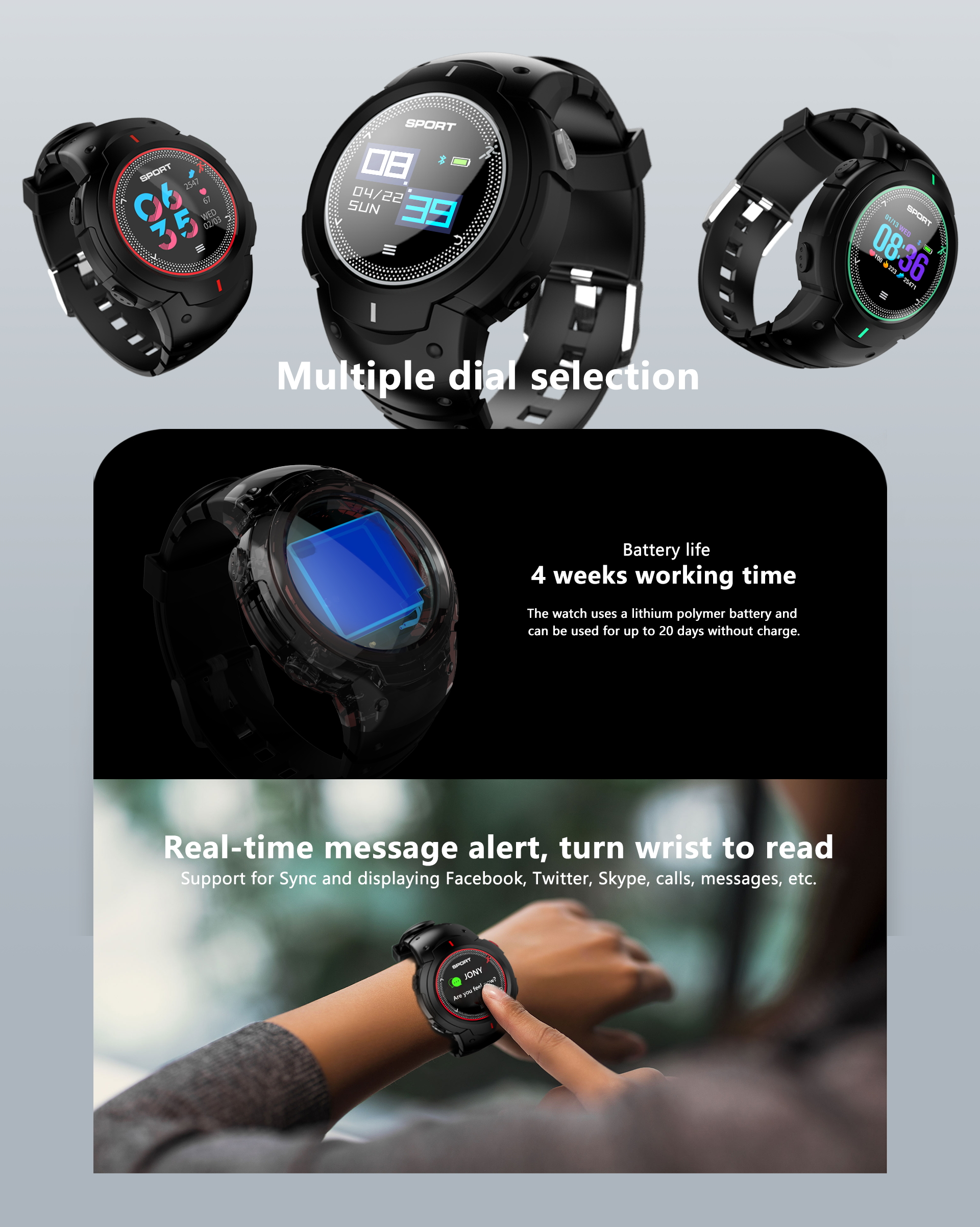 The high quality sports fitness smart watch GPS smartwatch with big battery smart watch girls