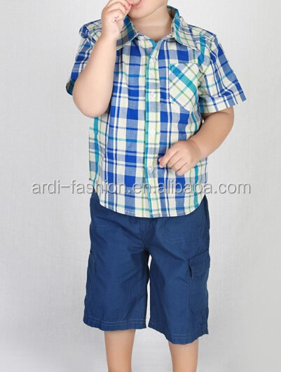 fashion design short sleeved boys checked shirt