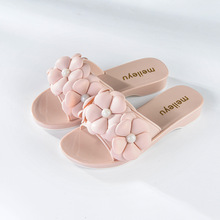 Latest design summer flower sandals soft PVC plastic jelly shoes for women