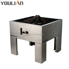 Square outdoor stainless steel gas fire pit with round burner kit