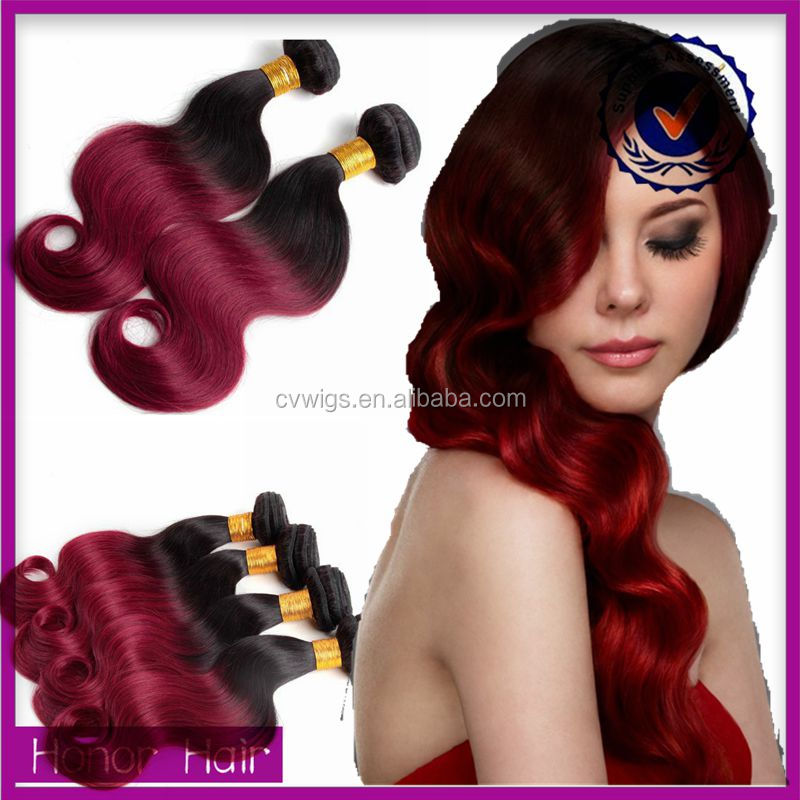 Drop shipping wholesale cheap ombre color 1b red indian remy hair weave