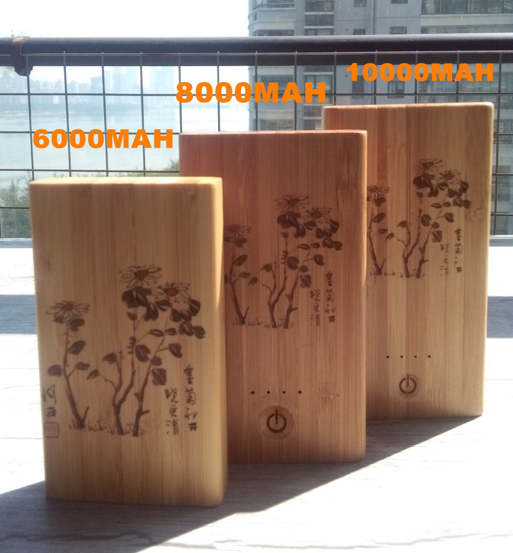 Hairong Mobile power supply powe bank 4000mAH Wood shell Port External Battery Pack Power Bank Backup Powers For Cellphone
