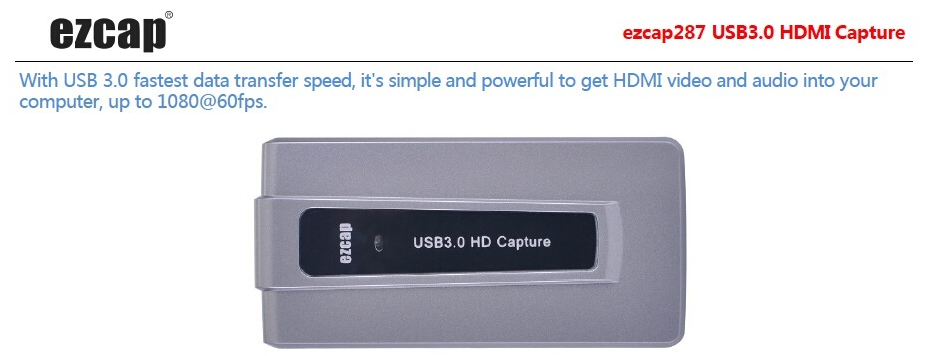 HDMI to USB 3.0 UVC Capture Card Device Dongle 1080P Video Audio recorder Win Mac ezcap287P