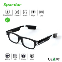 Stylish Compact HD 720P Stereo Camera Glasses with Bluetooth Headset for Phone