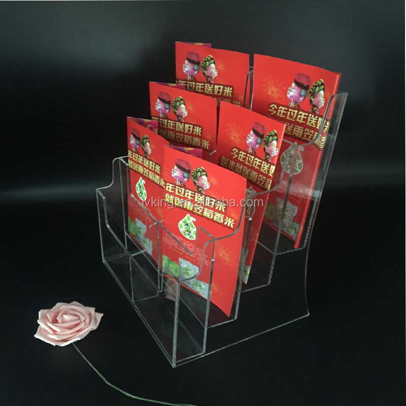 wholesale acrylic book display rack acrylic transparent 6 tier brochure holder stand