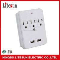 UL ETL LITESUN 3 outlets surge protected current tap with USB ports Wall tap Adapter Wall socket LA-5SC