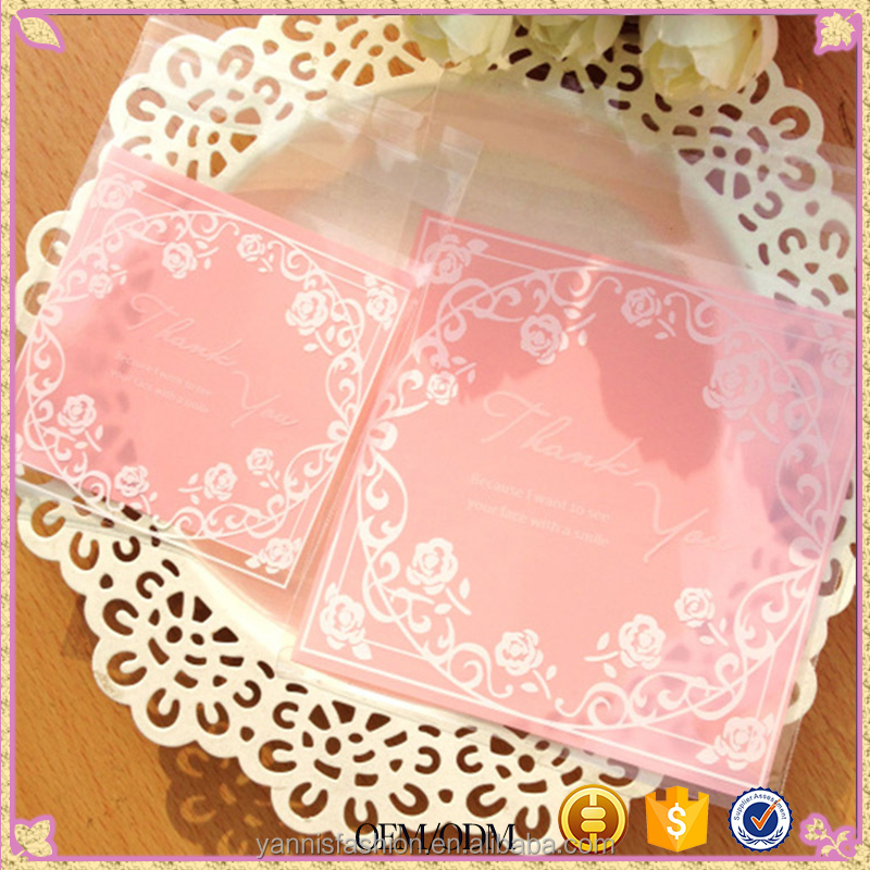Pink White lace Self Adhesive Seal Bakery Bread Plastic Cookies Bags Gift Cellophane Bags Candy Bags Wholesale