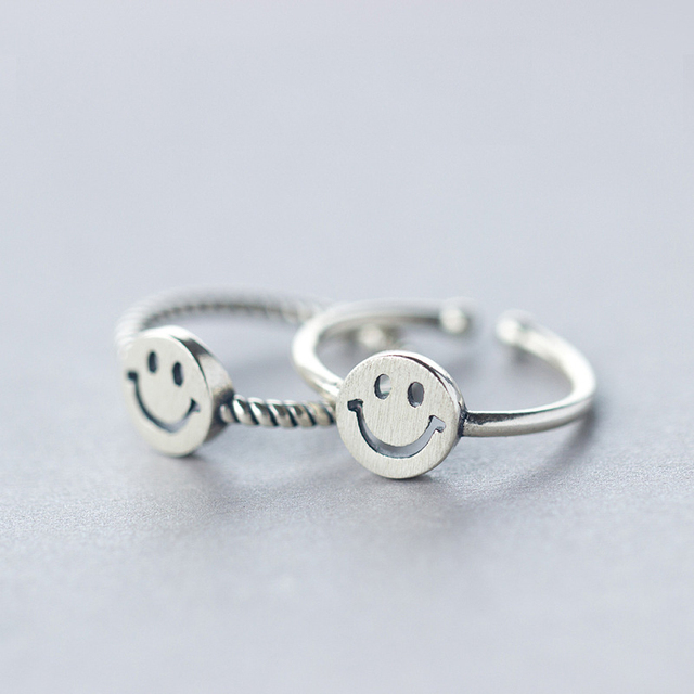 SJJ1880 Fashion Emoji Jewelry Ring Wholesale 925 Sterling Silver Twisted and Glossy Emoji Smile Face Ring
