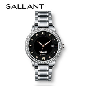 Luxury brand stainless steel wristwatches with sapphire crystal and diamond slim stone watch