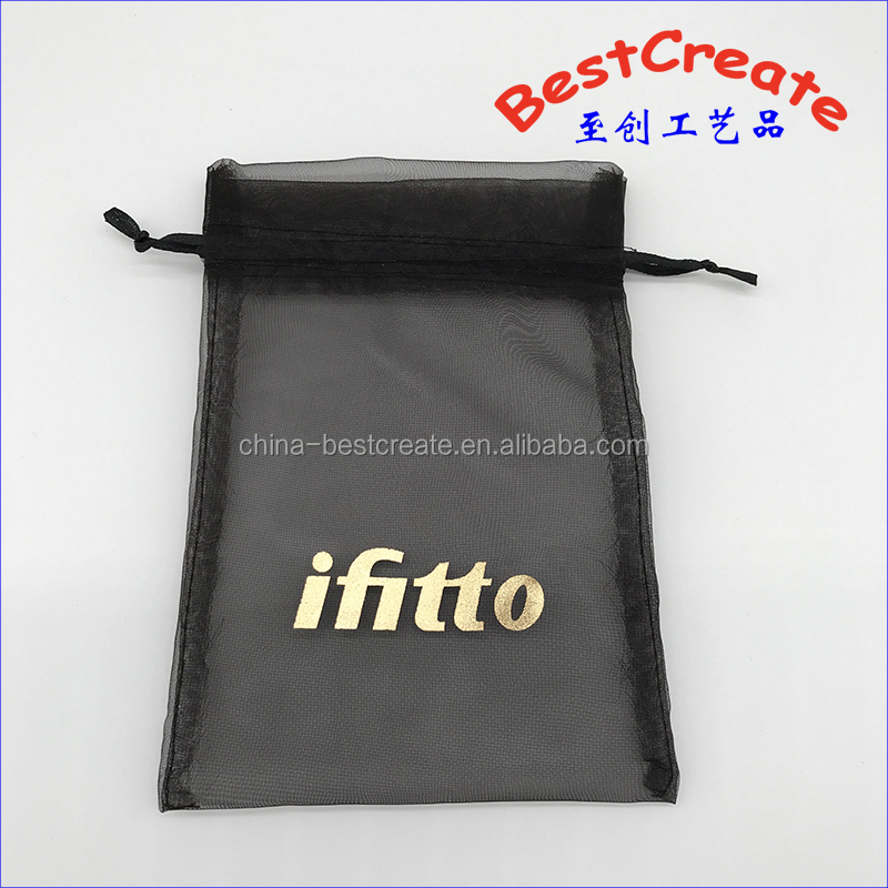 Hot stamping organza Drawstring Bags For Wedding Baby Shower Favors Mesh Gift Bags