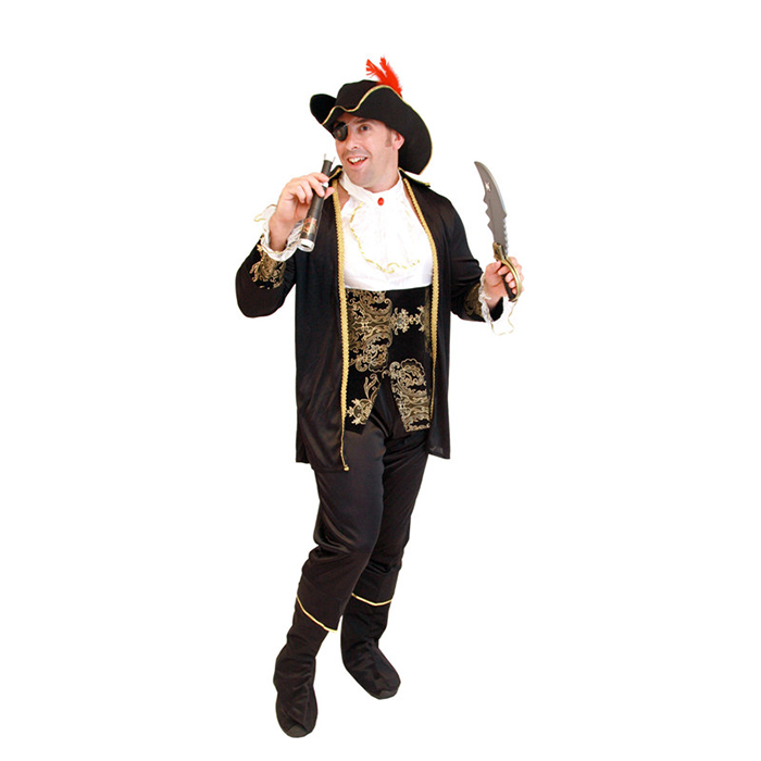 Deluxe Men's Pirate Costume Halloween Caribbean Role Play Outfit For Carnival Party