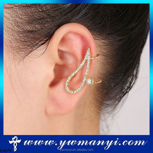 Fashion style newest crystal no hole earring with hot selling E0579