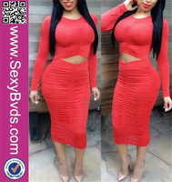 Hot Selling Sexy Long Sleeve Hollow Out Fashion Bodycon Dress for wholesale clothing