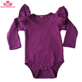 New Arrival Girls Boutique Long Sleeve Rompers Baby Girl's Hot Sale Flutter Sleeve Onesie