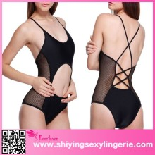 Hot sale Sexy Semi-sheer Cut-out Black One-piece Swimsuit