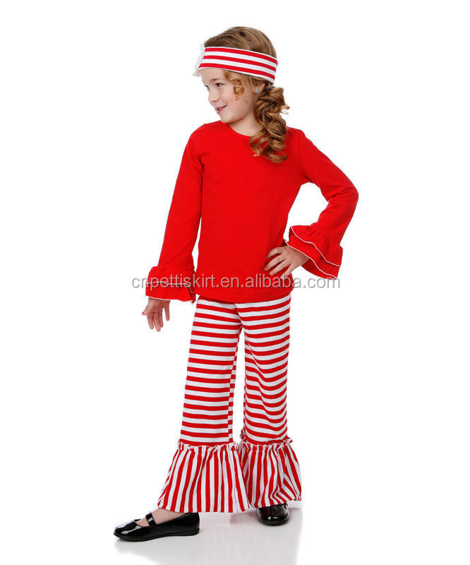Holiday clothing for girls vestidos casuales boutique style with matching headband ruffle top girl pants suit