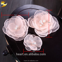 China YiWu manufacturer big mesh fabric flower hair clips channel hair accessories for girls