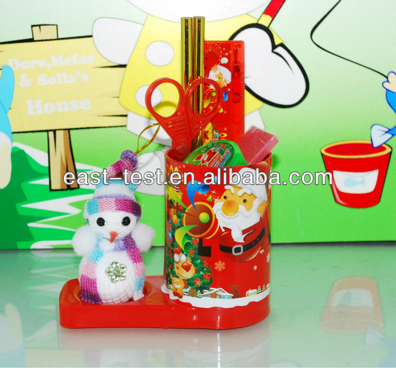 Christmas Cartoon Stationery/Gift Pen Holder/Container Set For Children/Students