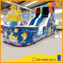 Commercial use wholesale cheap submarine inflatable water slide with pool for kids