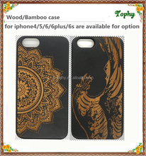 Hot wholesales hard plastic wooden case for iphone 6 plus , black PC bamboo wood case for iphone 5 6