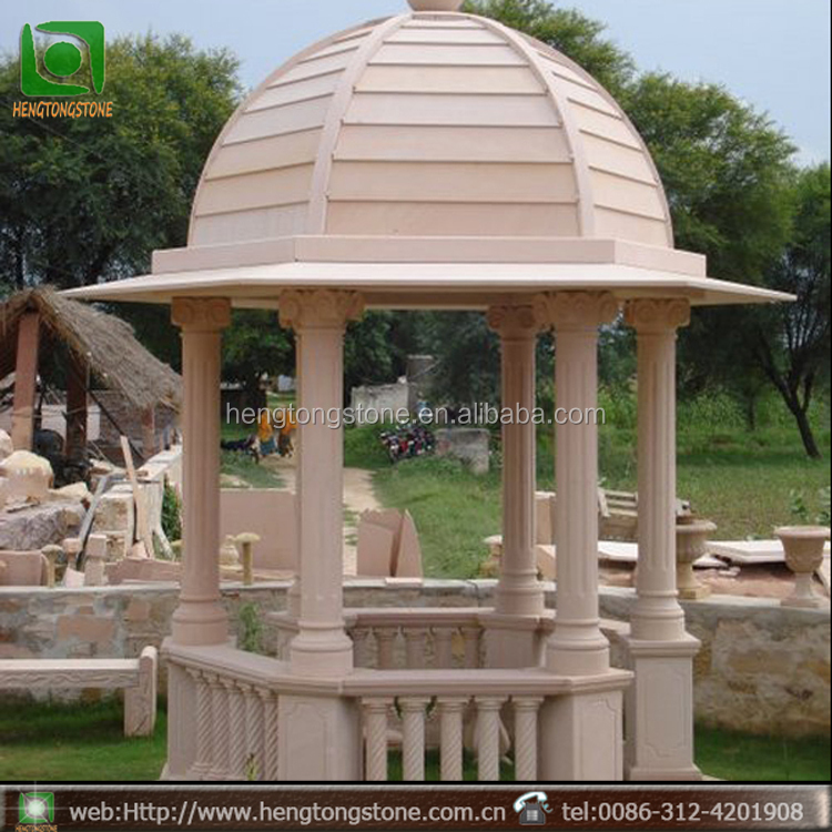 Outdoor Garden Decoration Stone Carving Marble Gazebo With Column
