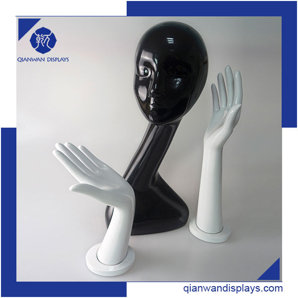Hot sale black long neck faceless mannequin head for hat