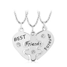 3 parts best friends forever friendship broken heart pendant necklace