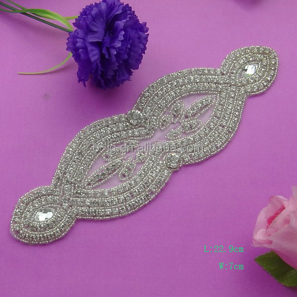 2015 high quality crystal design beading rhinestone trimmings for ladies gowns from Bailange wholesale