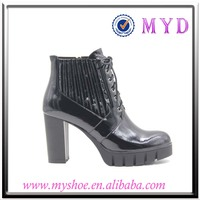 Ankle boots comfort patent solid black high heel boots for women
