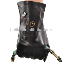 Women Black Genuine Leather Warm soft lined Gloves butterfly embroidery details-C1104