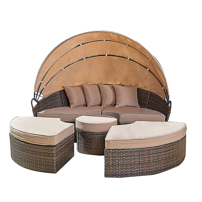 Anself 2-in-1 Poly Rattan Sofa Sunbed Round Outdoor Sofa Set with Retractable Canopy