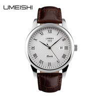 cheap wholesale 316L stainless steel case and crystal glass genuine leather wrist watch