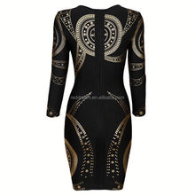 evening dress korean style golden ladies western dress designs bandage celebrity dress