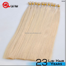 new beauty alibaba express Italian glue remy virgin Brazilian double drawn hair extension flat tip