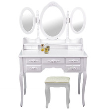 Best selling Bedroom vanity table and bench in White/Black Color with Triple Mirrors