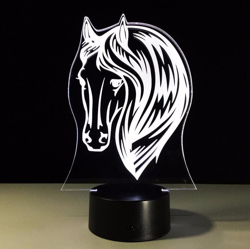 USB Novelty Gifts 7 Colors Changing Animal Horse Led Night Lights 3D LED Desk Table Lamp as Home Decoration Remote Control