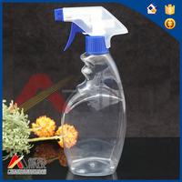 High quality Beautiful 520ml PET Plastic Transparent Bottle with Cream Pump for Detergent