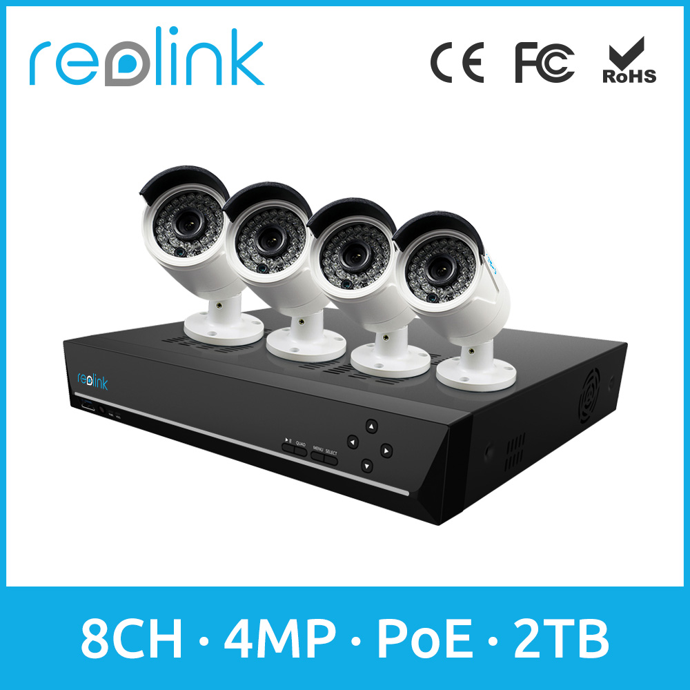 Reolink 8ch 4MP Security IP Camera System Outdoor 4 PoE Bullet IP Cameras w 2TB HDD RLK8-410B4