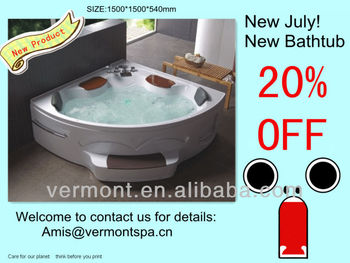 New promotion massage bathtub with bath taps