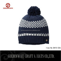 wholesale Knitted real fur pom pom attached crochet fancy baby beanie hats