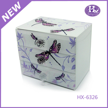 HX-6326 Silver plated Dragonfly Glass jewellery box concealed hinge