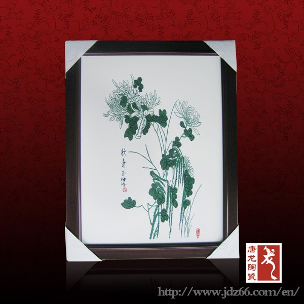 Plain design orchid canvas flower oil painting on ceramic