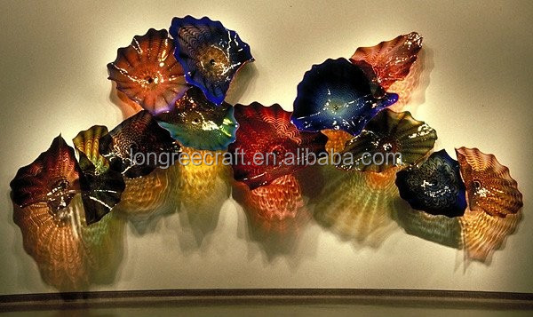 Murano Glass Plate Varying Shape and Color Chihuly Murano Glass Plates for Hotel Wall and Window Hanging