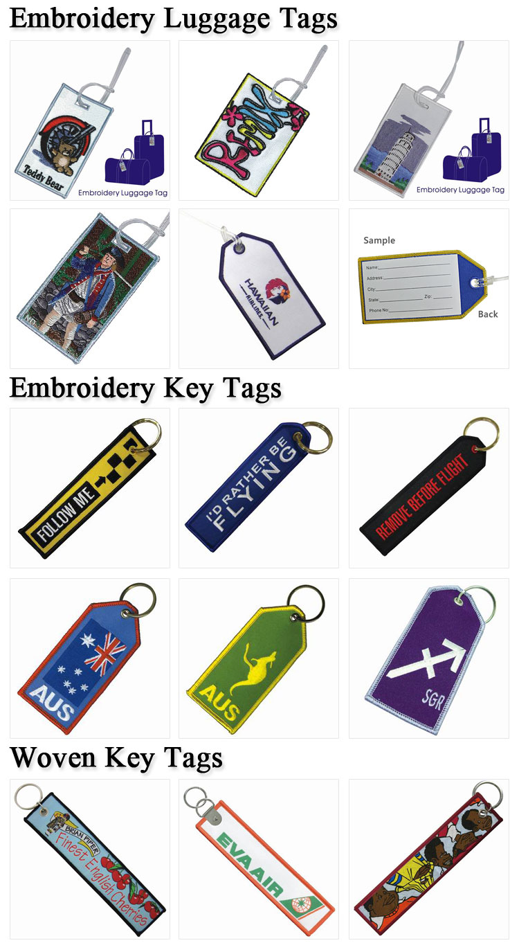Wholesale Custom Made Cheap Embroidered Flight Crew Luggage Tags